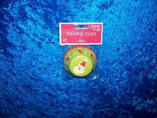 WILTON LIGHT GREEN SANTA CLAUS BAKING CUPS CUPCAKE LINERS 75 COUNT NEW!!!!!!!!!!