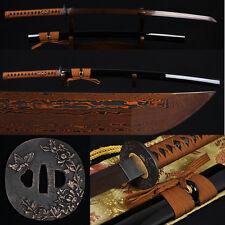 """41"""" JAPANESE SAMURAI KATANA SWORD Black&Red Folded Steel Full Tang Blade Sharp"""