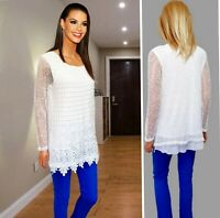 KLASS TOP SIZE M WHITE MESH+CROCHET LACE LONG SLEEVE LINED COLLARLESS #16