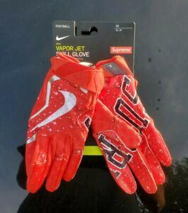 Supreme Nike Vapor Jet 4.0 Football Gloves in Red Sz Medium FW18 Deadstock/SS21