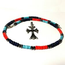 """JFTS, Mens, Turquoise, Lapis, Coral, Necklace, Cross, Pendant, 20"""", Father's Day"""