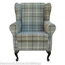 Medium Wing Back Fireside Armchair Orthopaedic in Green Lana Check with Studding