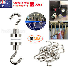 10x 5.5kg Strong Magnet Hooks Rare Earth N38 Neodymium Magnetic Hanger Holder AU