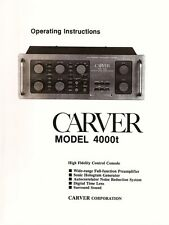 CARVER 4000t PREAMPLIFIER OPERATING INSTRUCTIONS MANUAL 35 Pages