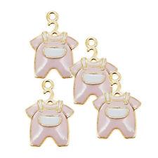 10pcs Gold Alloy Pink Enamel Baby Clothing Set Charms Pendant Jewellery 39230