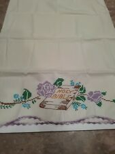 Embroidery Pillow Case Vintage Holy Bible With Roses