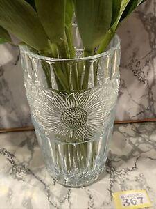 "VINTAGE 8"" ART DECO PRESSED DATE LINED RIB GLASS EMBOSSED SUNFLOWER DESIGN VASE"