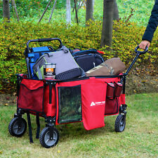 Folding Wagon Collapsible Garden Utility Cart Telescoping Handle Red Portable