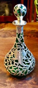 "Alvin 9 1/2"" Emerald Green Silver Overlay Decanter Bottle 1902"