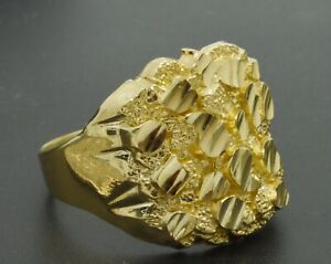Real Solid 10K Yellow Gold BIG Mens Nugget Square Ring 20mm ALL Sizes