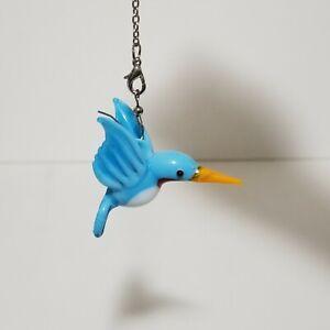 """Lampwork Torch Glass Handmade Blue Hummingbird 2"""""""