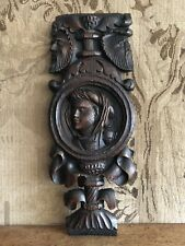A 16th Century Carved Oak Romayne Profile Panel