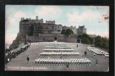 L@@K  Edinburgh Castle and Esplanade 1908 Postcard ~ Parade
