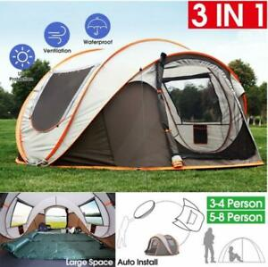 4-6 Persons Camping Tent Waterproof Auto Setup UV Sun Shelters Outdoor Hiking