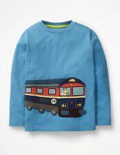 NWT Mini Boden Boys Big Applique Train Shirt Top 7 8 yrs