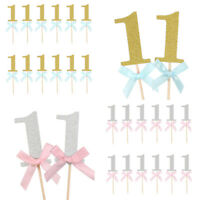 10pcs 1st Birthday Number Cake Cupcake Topper Baby Shower Party Decor Supplies