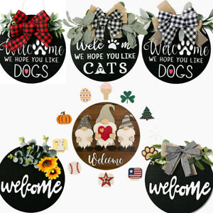 AAZZKANG Hello Sign for Front Door Wood Hanging Signs Rustic Welcome Front Door Decor Farmhouse Porch Home Decoration with Cute Plaid Bow Brown