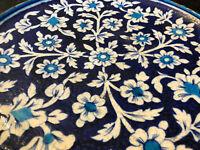 Plat Ottoman Céramique Fleurs Blanches sur Fond Bleu Antique Céramic Flowers