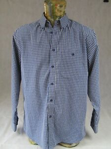 James Pringle Mens Shirt M Long Sleeve Blue Check Plaid <<C7>>