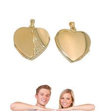 Damen Design Foto Herz Medaillon Echt Gold 333 8KT Amulett mit vergoldeter Kette