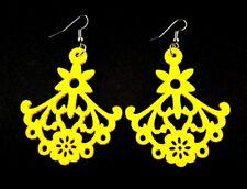 Yellow Tear Drop Lightweight Wood Laser Cut Dangle Fashion Earrings - # B278