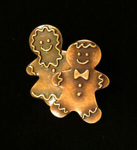 Gingerbread Cookie Couple Pin Copper Christmas Holiday Woman Boy Man Cookie