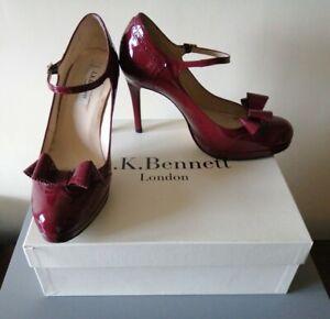 L K Bennett Platform Dawn Bordeaux Red Leather Patent Shoes Stiletto UK 7 EU 40
