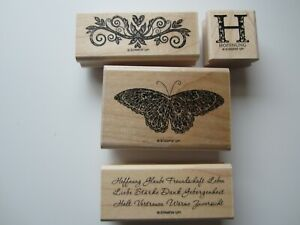 Stampin up Stempelset Zuversicht gebr.Holzstempel Schrift Schmetterling hope
