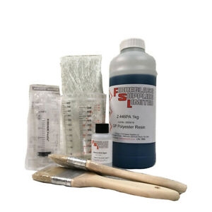 1kg Fibreglass GRP Polyester Resin, Hardener & Syringe Kit - Lloyds Approved