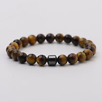 8mm Beads Natural Tiger Eye Lava Stone Healing Bracelets For Men Women Jewelry