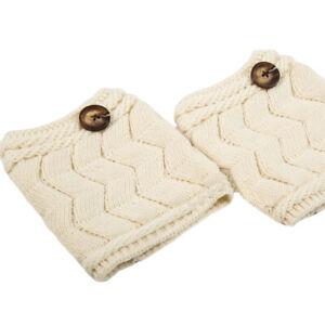 Women Knitted Crochet Leg Warmers Short Socks Warm Striped Button Boot Socks