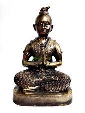 6106-THAI AMULET CALMLY PRAYING BOY BRONZE STATUE GUMAN GAMBLING MONEY RICH PERN