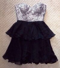 NWOT Women's Scala Silver Sequin and Black Silk Strapless Evening Prom Dress