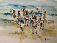 Print of Original ink & watercolour painting At The Beach jolly wall art decor