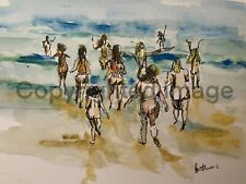 More details for a3 print of original ink & watercolour painting at the beach seascape wall art