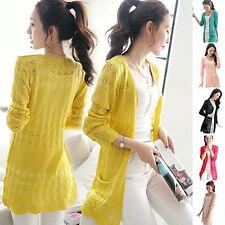 Women Cardigan Knitwear Hollow Long Sleeve Casual Outwear Tops Beauty Gifts