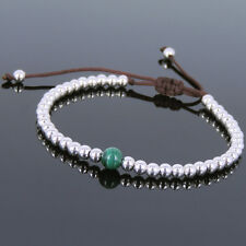 Malachite Sterling Silver Adjustable Braided Bracelet Mens Women DIY-KAREN 638
