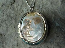 GENUINE BLACK LIP CARVED SHELL MOTHER AND CHILD CAMEO LOCKET - QUALITY