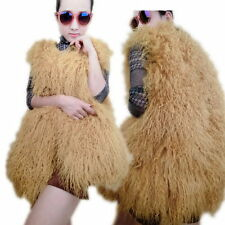 100%REAL TIBETAN MONGOLIAN LAMB LONG CURLY HAIR/ SHEEP SKIN FUR VEST COATS JACKE