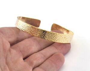 Textured Adjustable Bracelet Shiny Gold Plated Brass Cuff Bangle Handmade