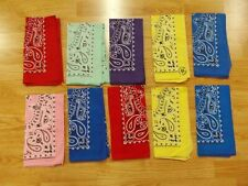 VTG LOT of 10 MADE IN USA yellow blue pink purple red Cotton Biker BANDANA Hanky