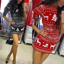 Women Long Sleeve Xmas Pattern Printed Party Bodycon Clubwear Mini Dress Autumn
