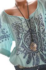 ITALY MODA Tunika Folklore Bluse FEDERN Oversize Hemd 40 42 44 MINT BLAU Neu