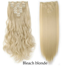 Natural Real Thick as human Hair 8Pcs Full Head Clip In Hair Extensions 18Clips