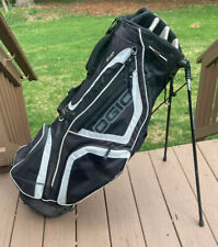Ogio Black/ Gray Woodie Club Management System 8 Divider Stand Harness Golf Bag