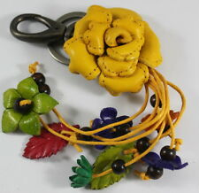 Yellow Rose Genuine Leather Keychain Purse Handbag Flower Charm Clasp Handmade