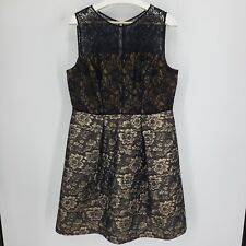 Lovely By Adrianna Papell Dress Black Lace Top, Metallic Copper Floral Size 16