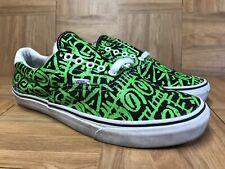 RARE🔥 VANS Authentic Neon Green Tribal Low Sneakers Sz 10 VAN DOREN Waffle LE