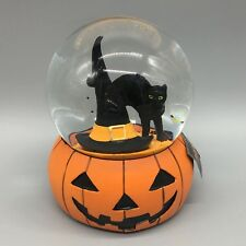 Halloween Musical Snow Globe Black Cat Witch Hat Jack-o-Lantern Waterglobe Decor