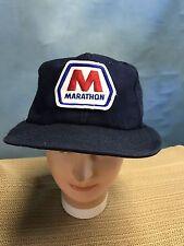 Vintage Marathon Oil Gas Hat Cap Blue Snapback Trucker